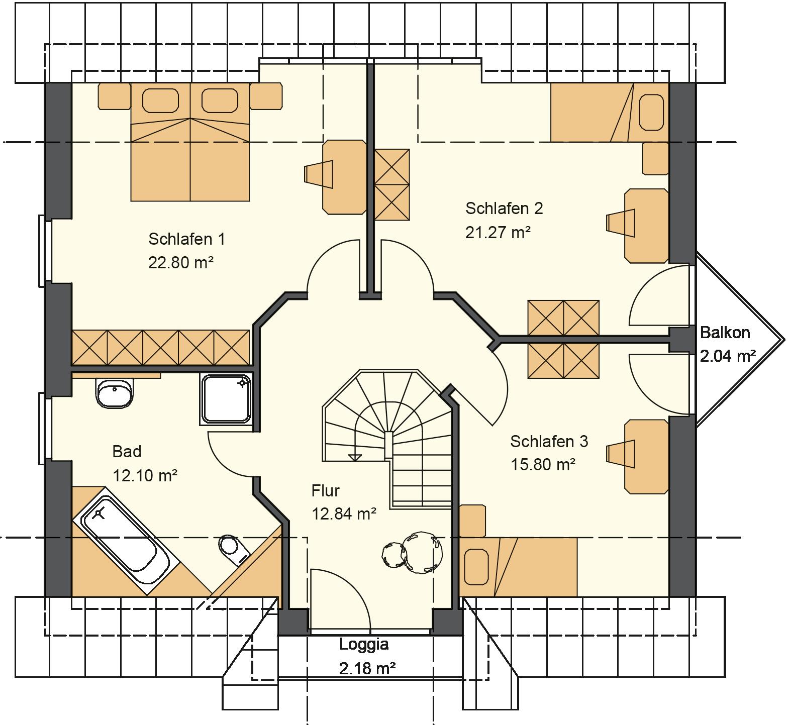 Friesenhaus Grundriss Obergeschoss mit 89,03 m² Grundriss