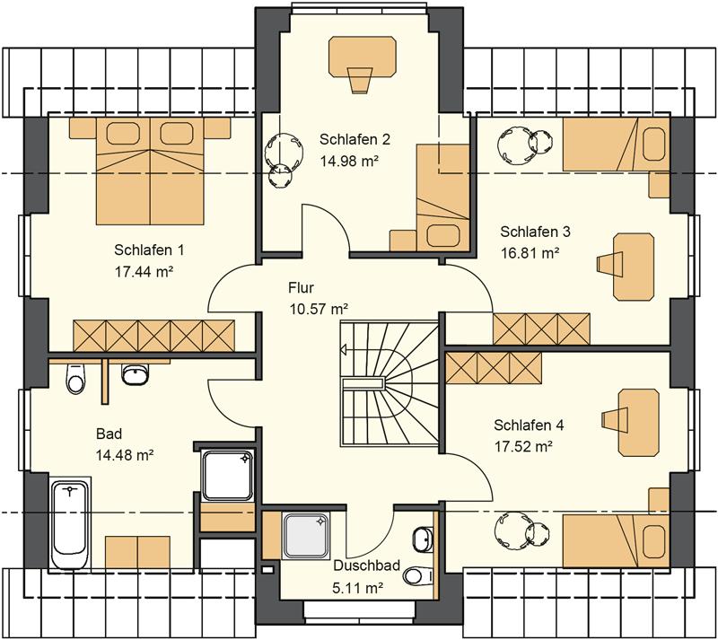 Dachgeschoss Grundriss mit 96,91 m² Grundriss. Der Kapitänsgiebel wertet die langweilige Seite eines Einfamilienhauses nordisch auf und schafft dadurch im Schlafzimmer einen höheren Nutzwert und damit eine größere nutzbare Wohnfläche