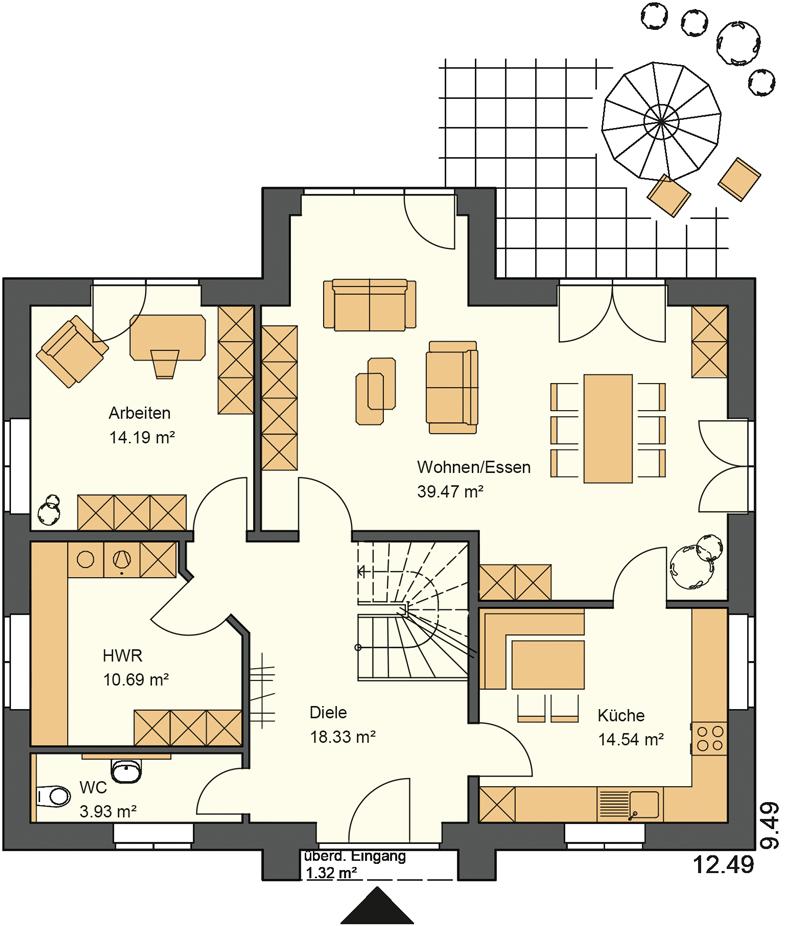 Erdgeschoss Grundriss mit 102,47 m² Grundriss. Der Kapitänsgiebel mit Anbau schafft mehr Wohnfläche im Erdgeschoss und