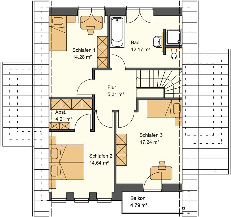 Satteldach Grundriss Obergeschoss