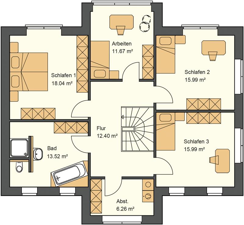 Stadtvilla Grundriss Obergeschoss - Stadtvilla bauen mit 93,87 m² Wohnfläche im Obergeschoss
