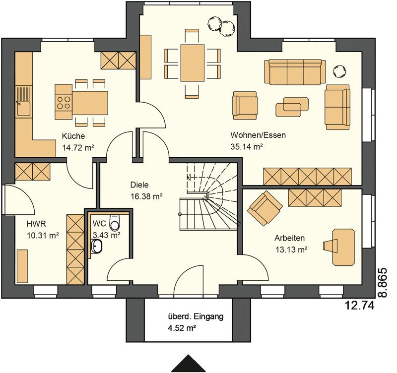 Stadtvilla bauen mit 97,63 m² Wohnfläche im Obergeschoss