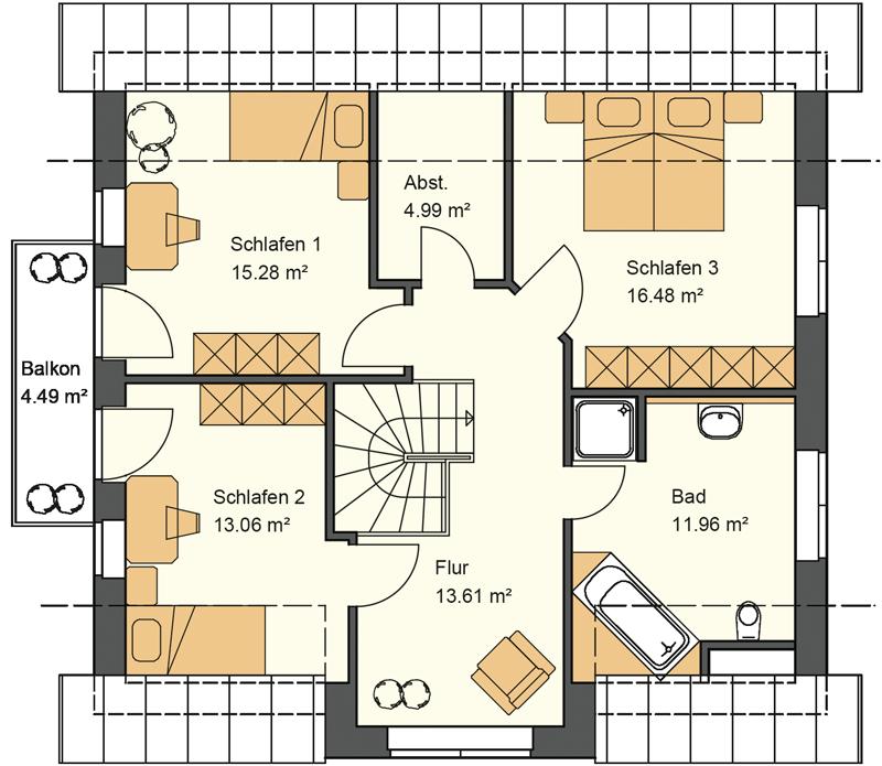 Dieses Landhaus mit Kapitänsgiebel bietet im Obergeschoss 79,87 m² Grundriss
