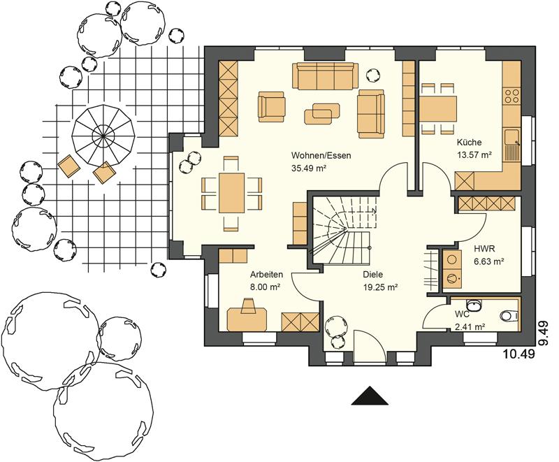 Das Kapitänsgiebelhaus PRIVATRAUM bietet im Erdeschoss 85,35 m² Grundriss