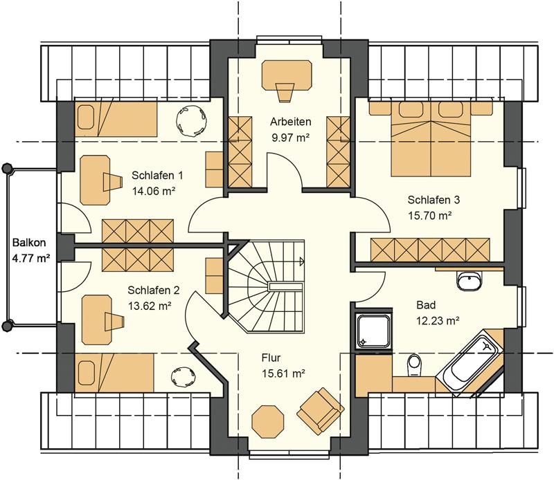 Obergeschoss Grundriss mit 85,96 m² Grundriss - Das Kapitänsgiebelhaus mit den zwei Giebeln schafft einen hohen Nutzwert im Obergeschoss