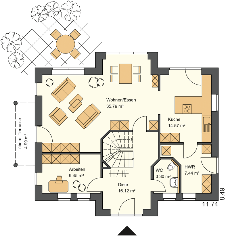 Obergeschoss Grundriss mit 91,66 m² Grundriss - Das Kapitänsgiebelhaus mit den zwei Giebeln schafft einen hohen Nutzwert im Obergeschoss