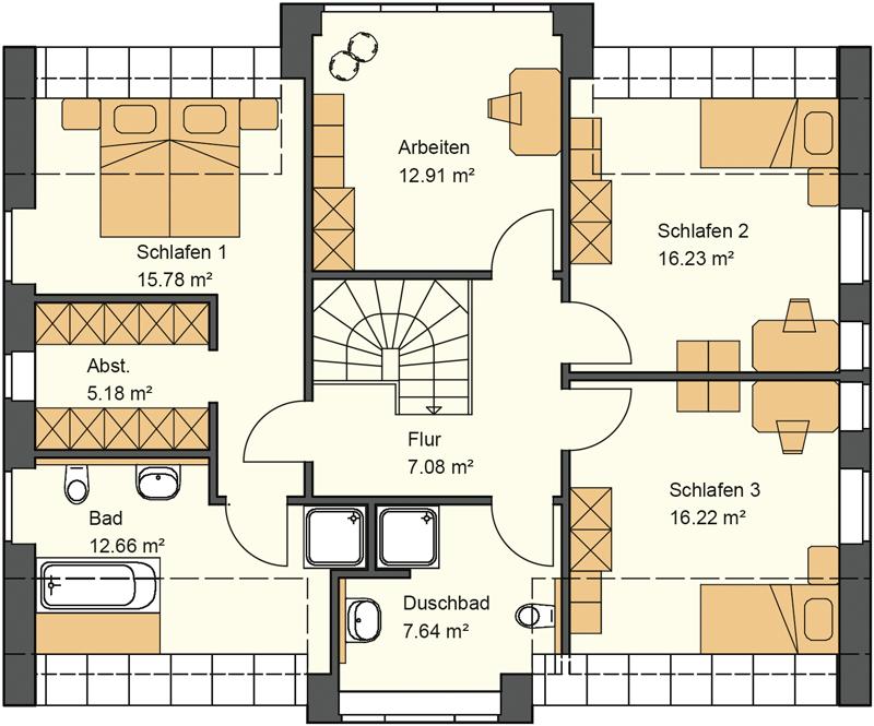 Obergeschoss Grundriss mit 93,70 m²