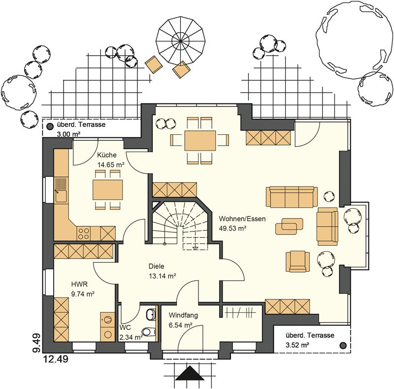 Erdgeschoss Grundriss mit 102,46 m²