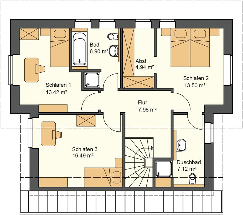 Pultdachhaus Grundriss Obergeschoss