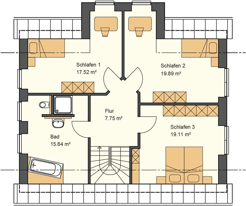 Satteldachhaus mit knapp 80 m² Grundriss im Obergeschoss - schlüsselfertig bauen in Osnabrück, Cloppenburg, Oldenburg
