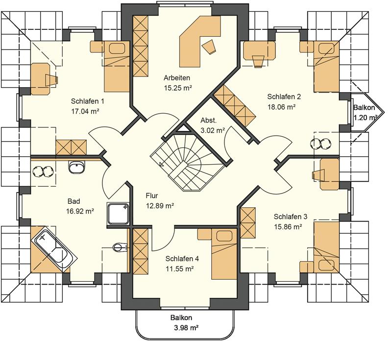 Walmdachhaus Grundriss Obergeschoss mit über 100 m² Wohnfläche