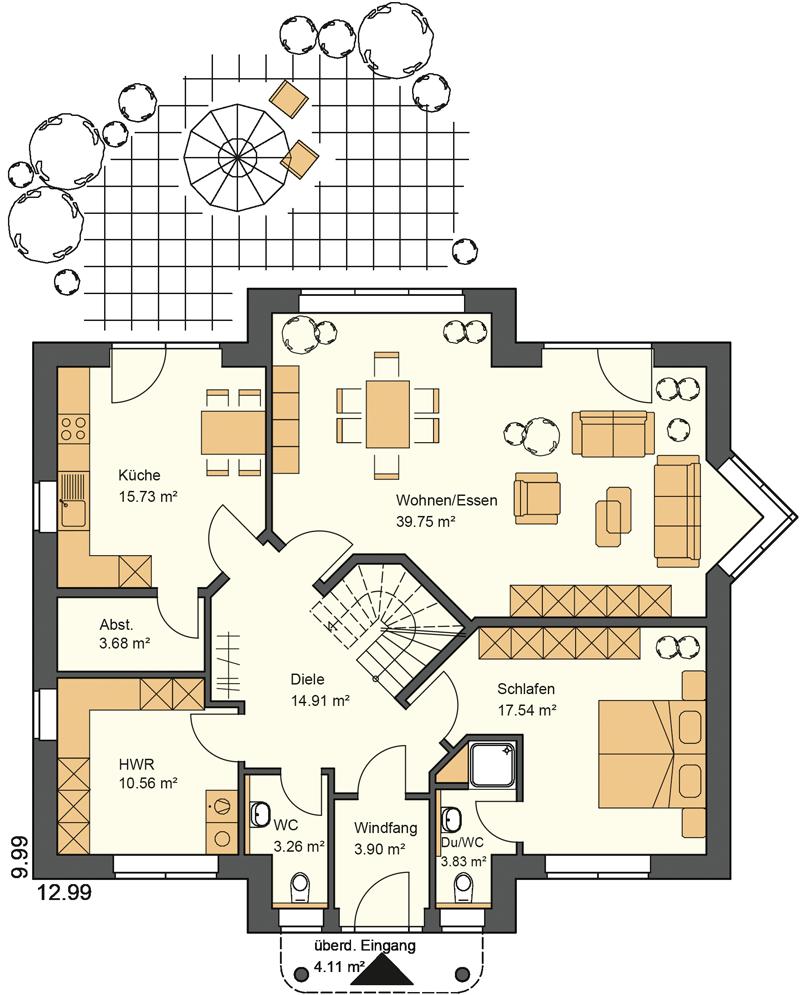 Walmdachhaus mit großzügigem Wohn/Essbereich und Elternschlafzimmer im Erdgeschoss. Grundriss mit 117,27 m² Wohnfläche im Erdgeschoss