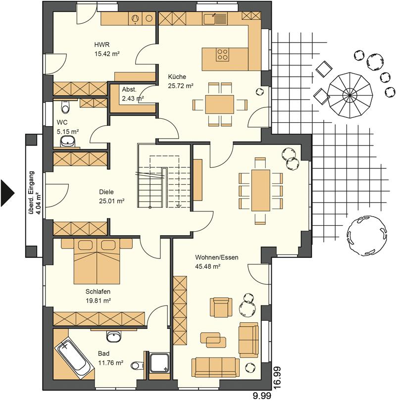 Stadtvilla Grundriss mit mehr als 150 m² Wohnfläche im Eredgeschoss