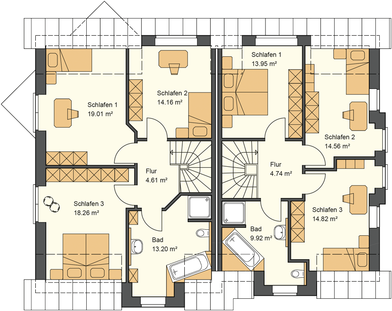 Doppelhaus Grundriss Dachgeschoss mit 69,24 und 57,99 m² Grundriss
