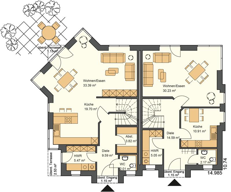 Doppelhaus Grundriss Erdgeschoss mit 78,79 und 64,10 m² Grundriss