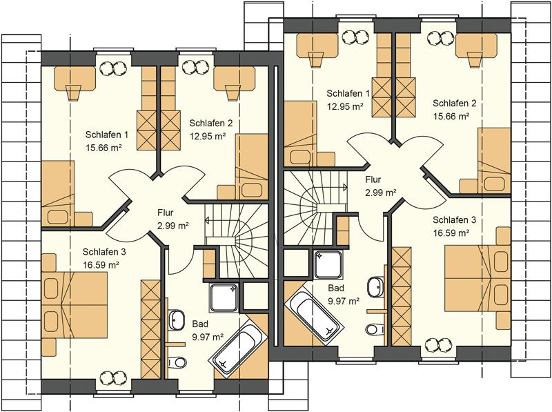 Doppelhaus Grundriss Obergeschoss mit 63,31 m²