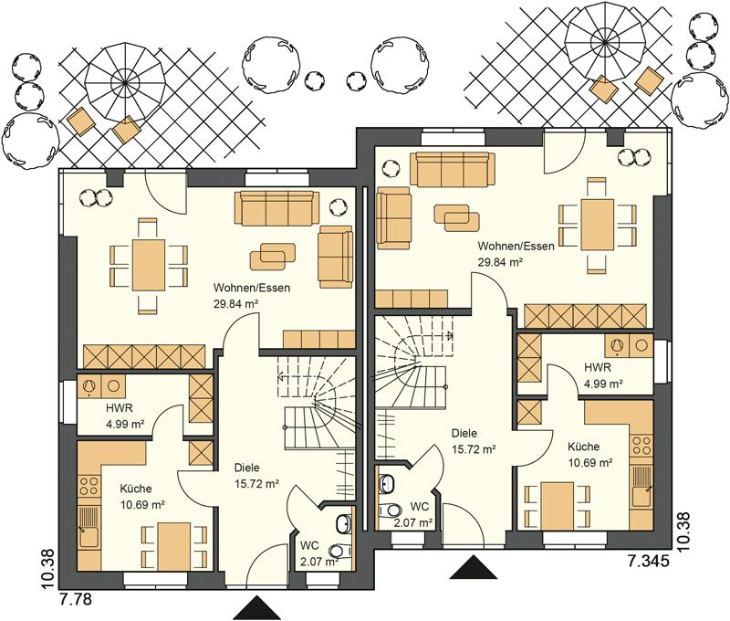 Doppelhaus Grundriss Erdgeschoss mit 58,16 m²