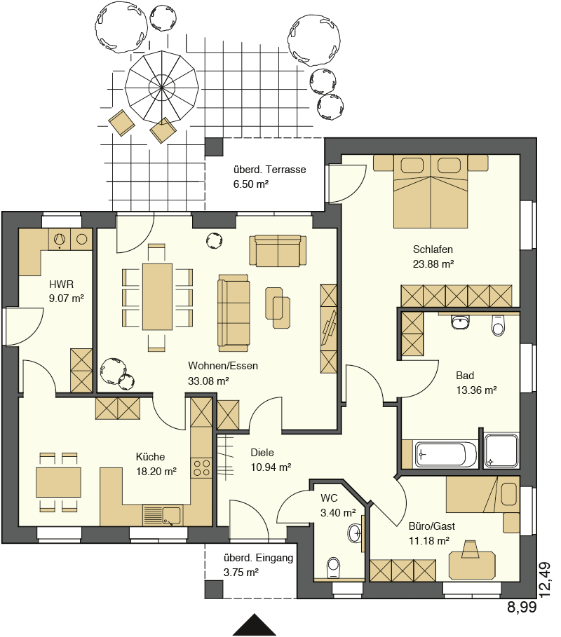 Winkerlbungalow Grundriss mit über 150 m² Wohnfläche - Bungalow schlüsselfertig bauen in den Regionen Osnabrück, Cloppenburg, Emsland, Meppen, Oldenburg, Ammerland oder Vechta