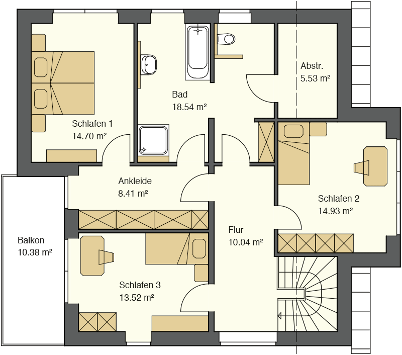 Pultdachhaus Grundriss Obergeschoss mit 64,44 qm Wohnfläche