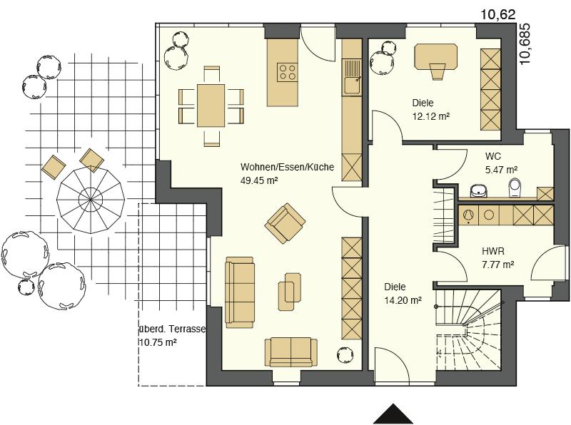 Pultdachhaus Grundriss Erdgeschoss mit 72,51 qm Wohnfläche