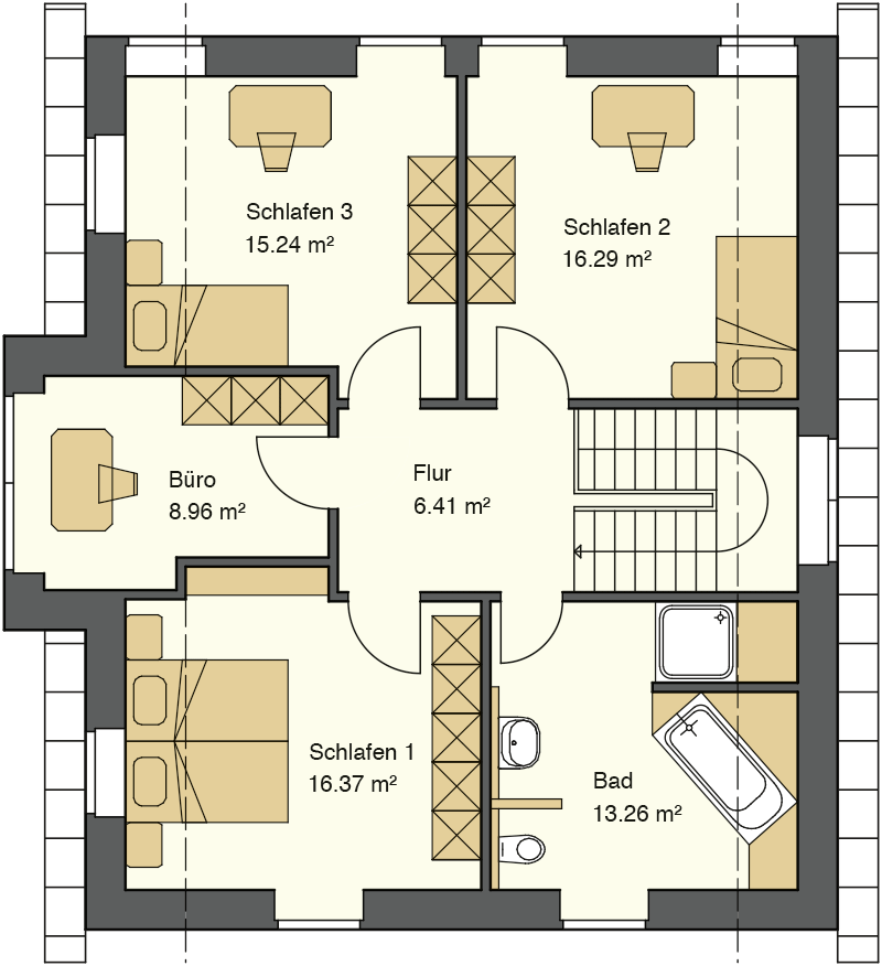 Friesenhausstil Landhaus - Grundriss im Obergeschoss: 87,70 m²