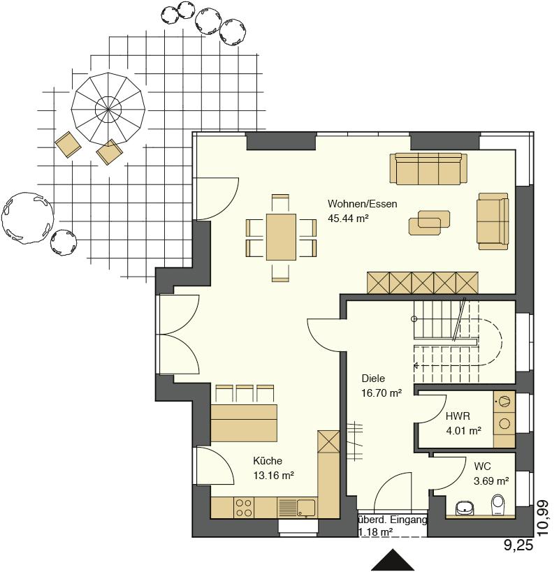 Der Grundriss im Erdgeschoss beträgt 100,10 m²