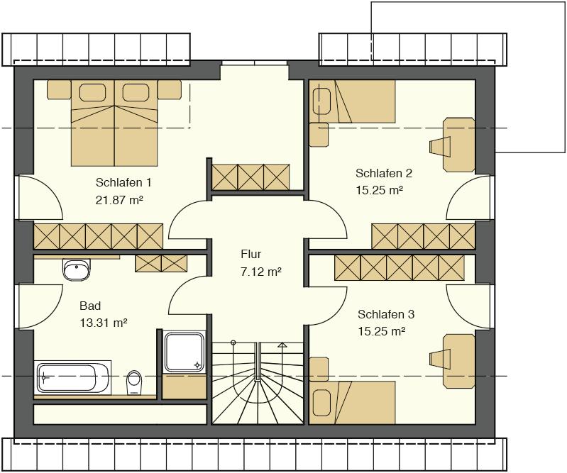 Grundriss Obergeschoss mit 99,36 m² Grundriss und drei großen Schlafzimmern