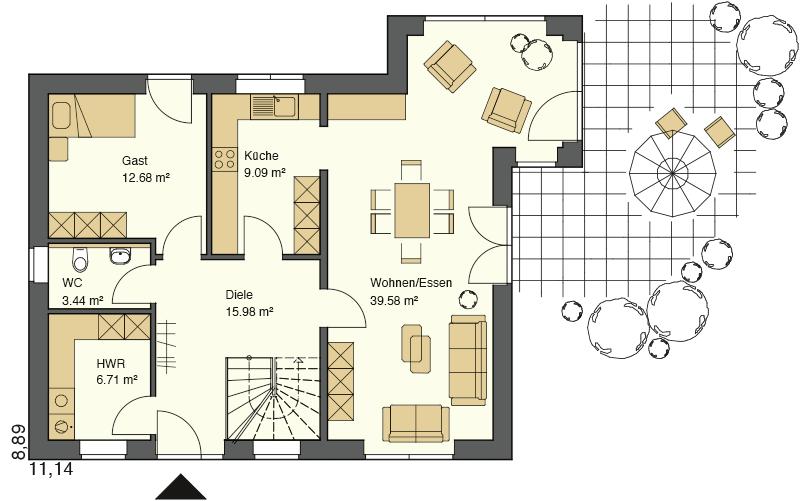 Grundriss Erdgeschoss mit 110,96 m² Grundriss und sehr großzügigem Wohn- Essbereich