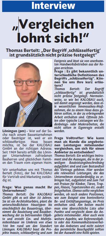 Interviwe mit Thomas Bertelt zum Thema schlüsselfertiges Bauen